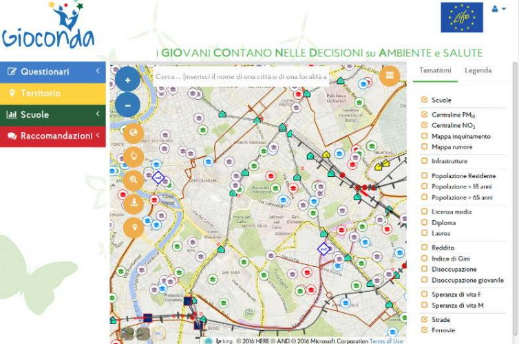 Progetto Europeo LIFE Gioconda: applicazione web per raccolta dati geografici relativi ad inquinamento sonoro