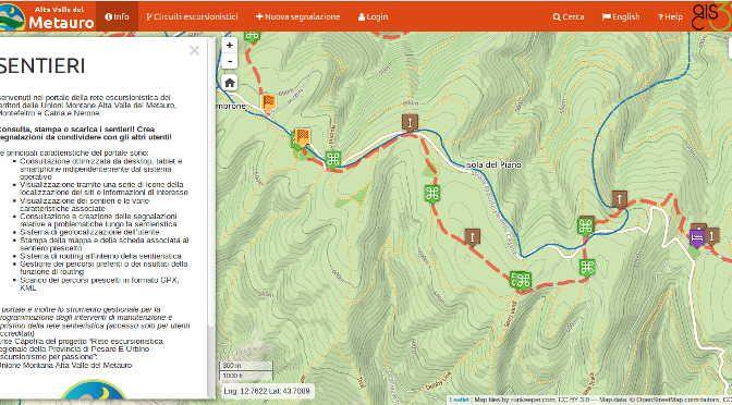 TrailManager: portale della rete escursionistica delle Unioni Montane Alta Valle del Metauro, Montefeltro e Catria e Nerone