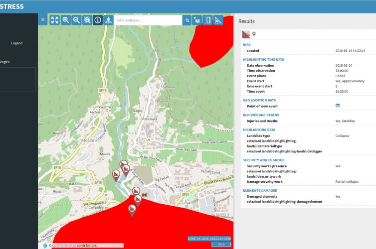 Progetto STRESS: Geoporatle dedicato alla catalogazione e visualizzazione dati satellitari e dati VGI derivanti da utenti segnalatori